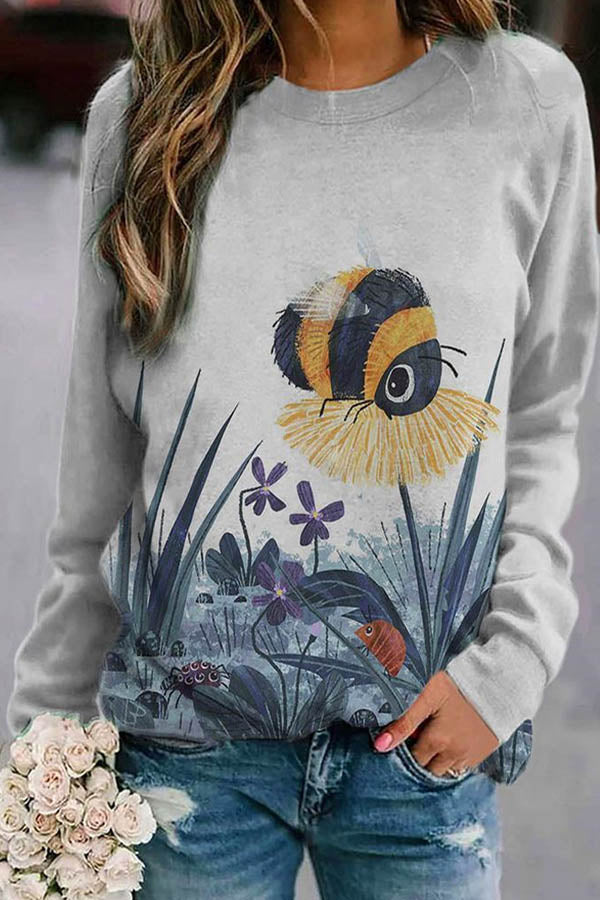 Vivid Dragonfly On Floral Print Lively Sweatshirt