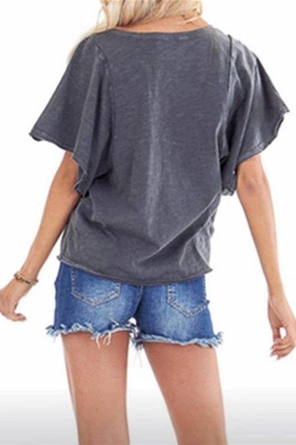 Solid V-neck Short Sleeve Casual T-shirt