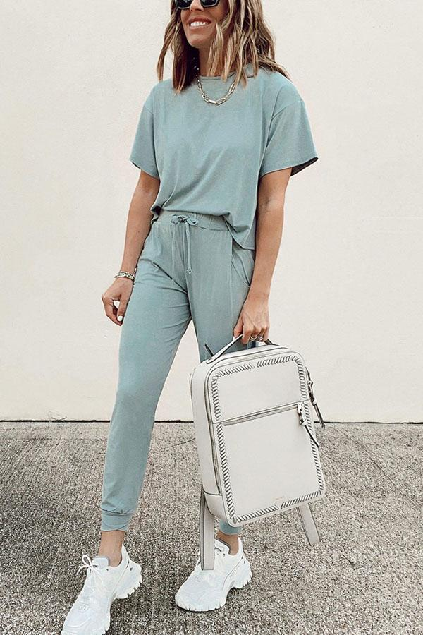 Casual Solid T-shirt With Pockets Pants Two-pieces Set