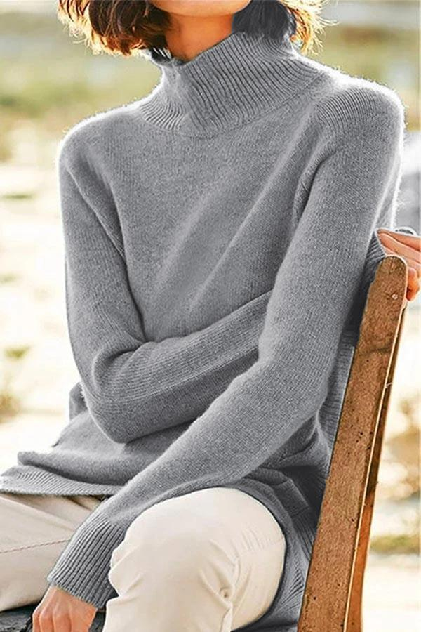 Casual High Collar Solid  Sweater