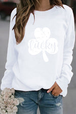 Lucky Letter And Clover Printed Round Neck Shift T-Shirt