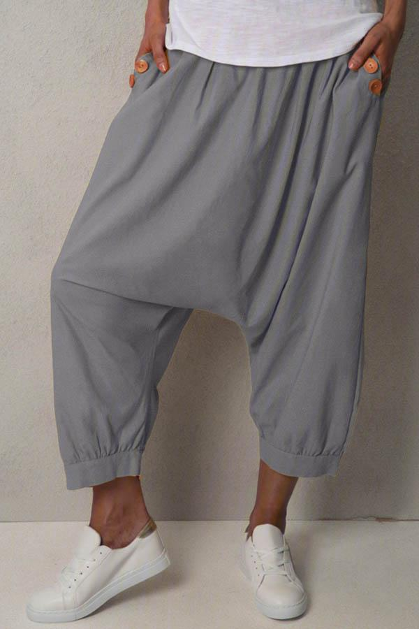 Casual Solid Paneled Buttoned Pockets Harem Pants
