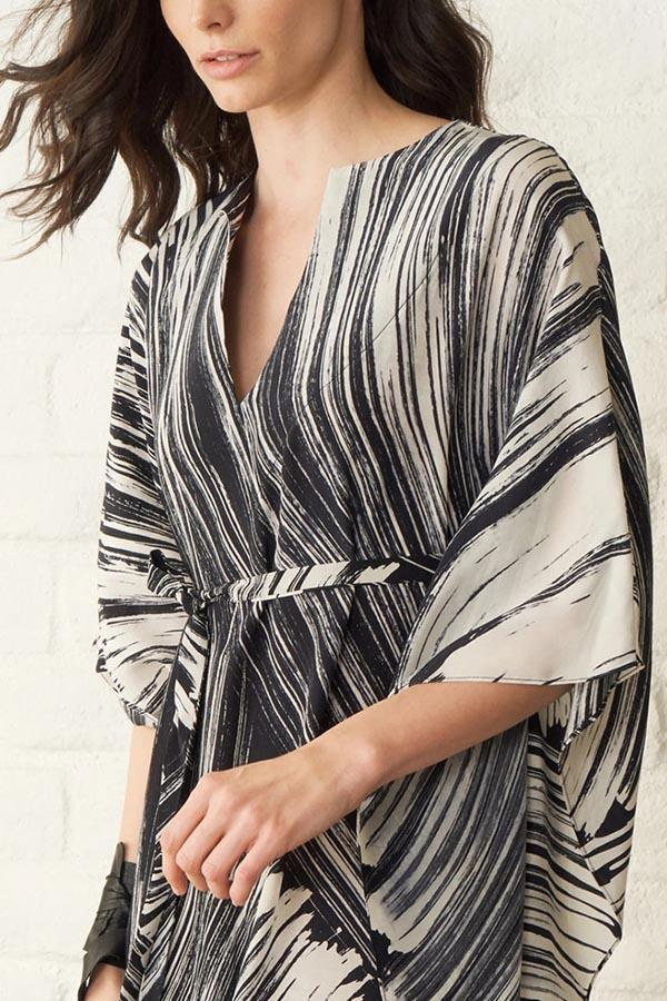 Striped Print V-neck Holiday Batwing Maxi Dress