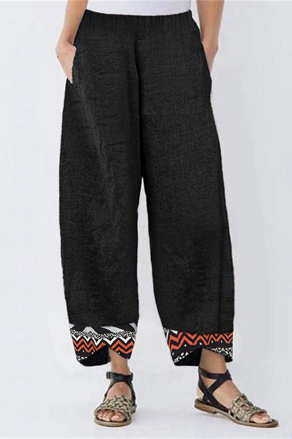 Casual Printed Side Pockets  Pants