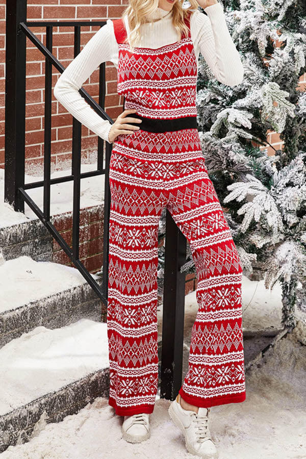 Christmas Geometric Snowflake Jacquard Knitted Sling Wide Leg Jumpsuit