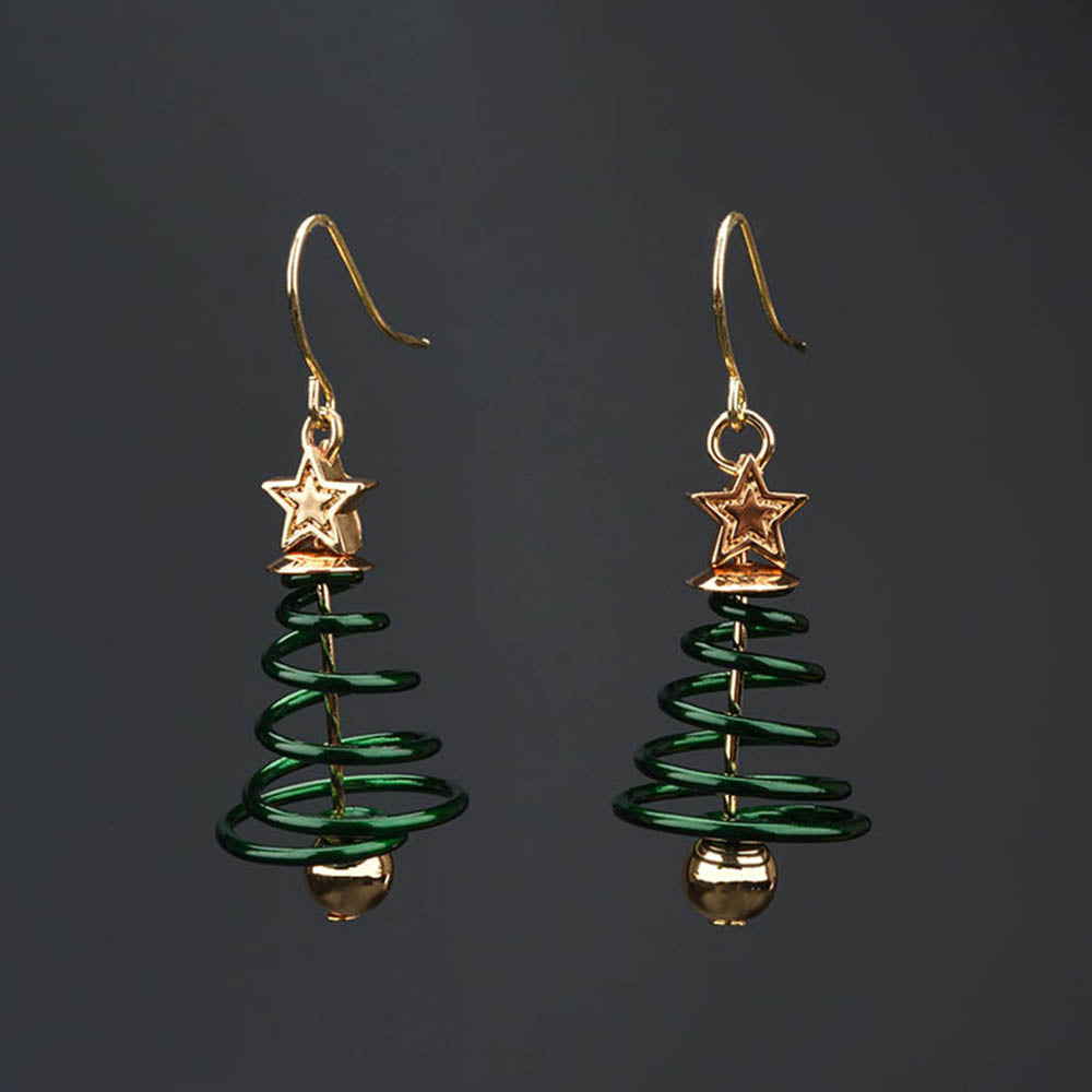 Holiday Christmas Tree Spring Spiral Star Eardrop Earrings