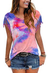 Gradient Print Paneled Tassel Sleeves Casual T-shirt