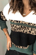 Women Color-block Leopard Striped Jacquard Knitted Ribbed V-neck Sweater