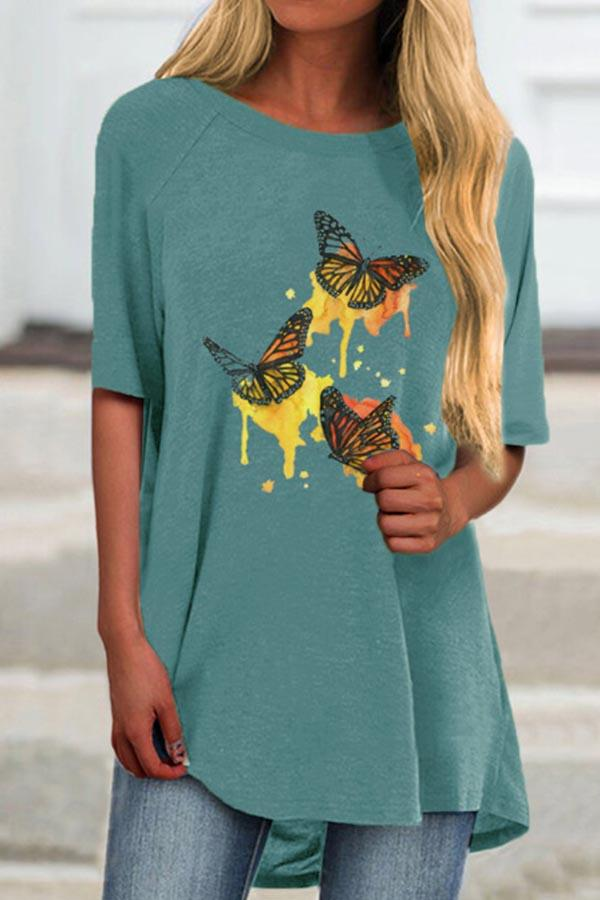 Butterfly Print Crew Neck Half Sleeves Casual T-shirt