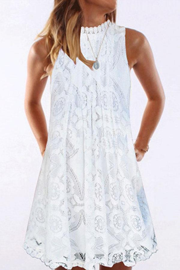 Solid Paneled Lace Hollow Out Sleeveless Elegant Mini Dress