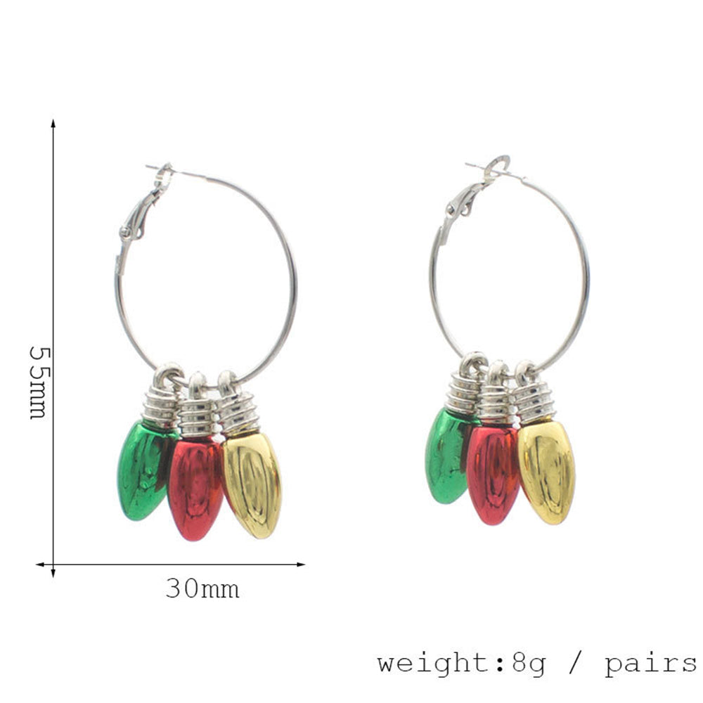 Christmas Element Tree Elk Bells Candy Decoration Eardrop Holiday Earrings