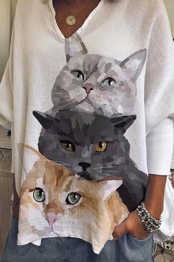 Three Lovely Cartoon Cat Together Print V-neck Loose Casual Blouse