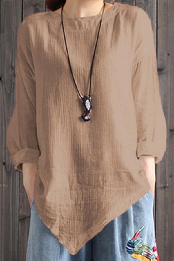 Round Neck Long Sleeves Linen Blouses