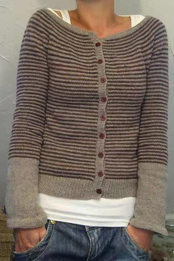 Casual Striped Buttons Down Knitted Cardigan