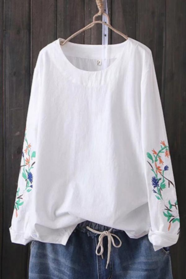 Casual Linen Embroidery T-shirts