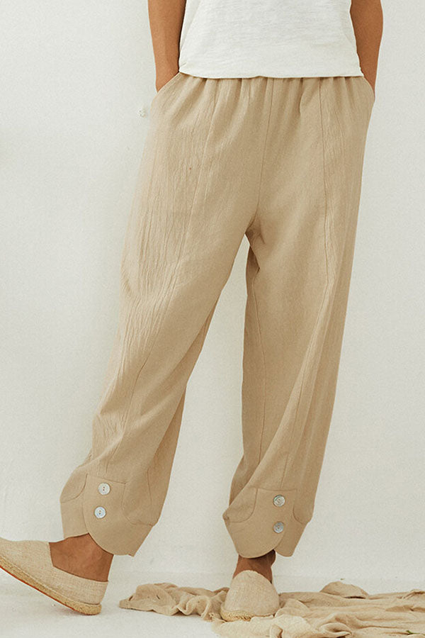 Sports Solid Buttoned Elastic Waist Pockets Bloom Long Pants