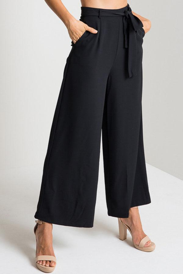 Casual Solid High Waist Pants