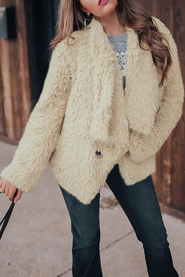Street Solid Fuzzy Buttoned Lapel Collar Coat