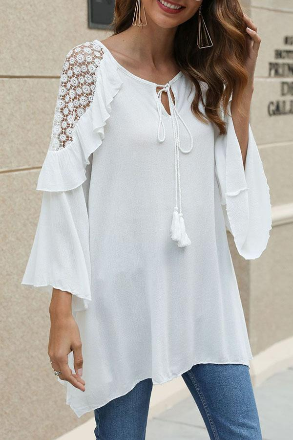 Cutout Ruffled Tassel Shift Loose Casual Blouse