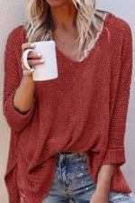 Solid V Neck Casual Loose Sweater