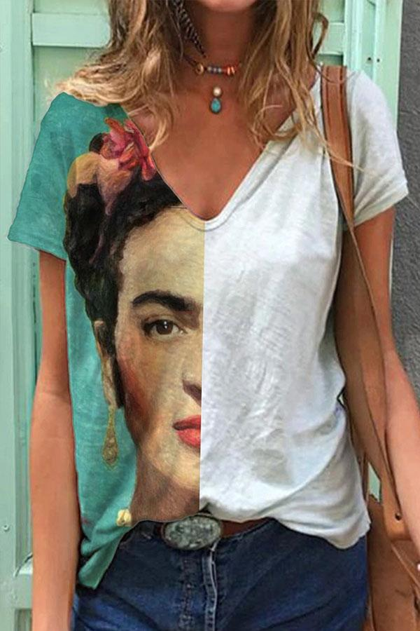 Ink Painting Frida Kahlo Half-face Color-block V-neck T-shirt