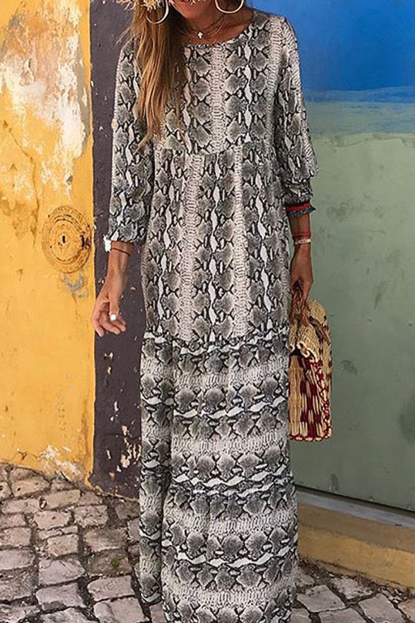 Snake Striped Print Holiday Date Shift Maxi Dress