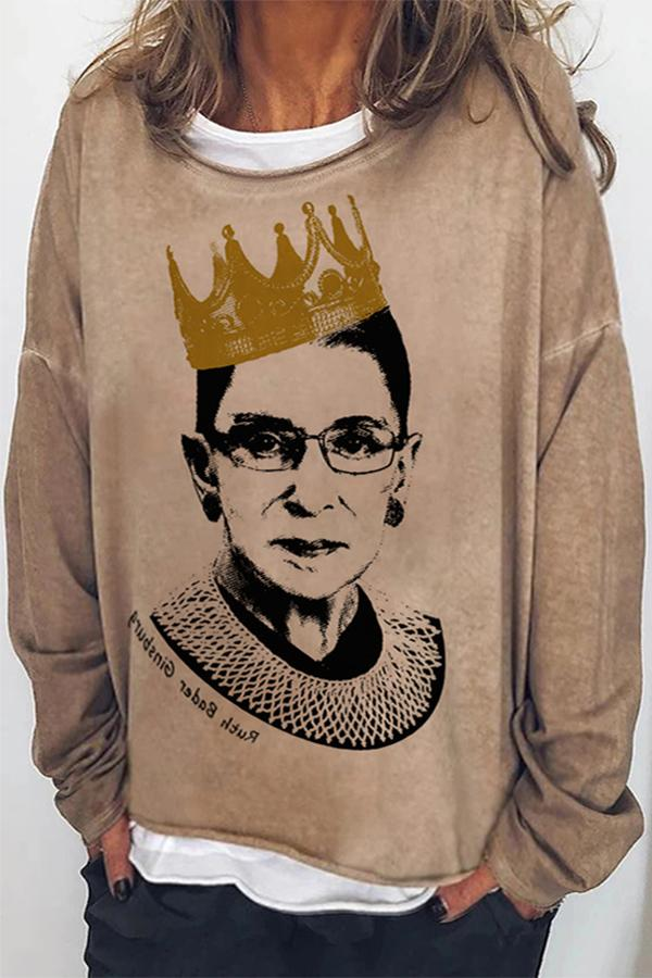 Ruth Bader Ginsburg Women Portrait Print Casual T-shirt