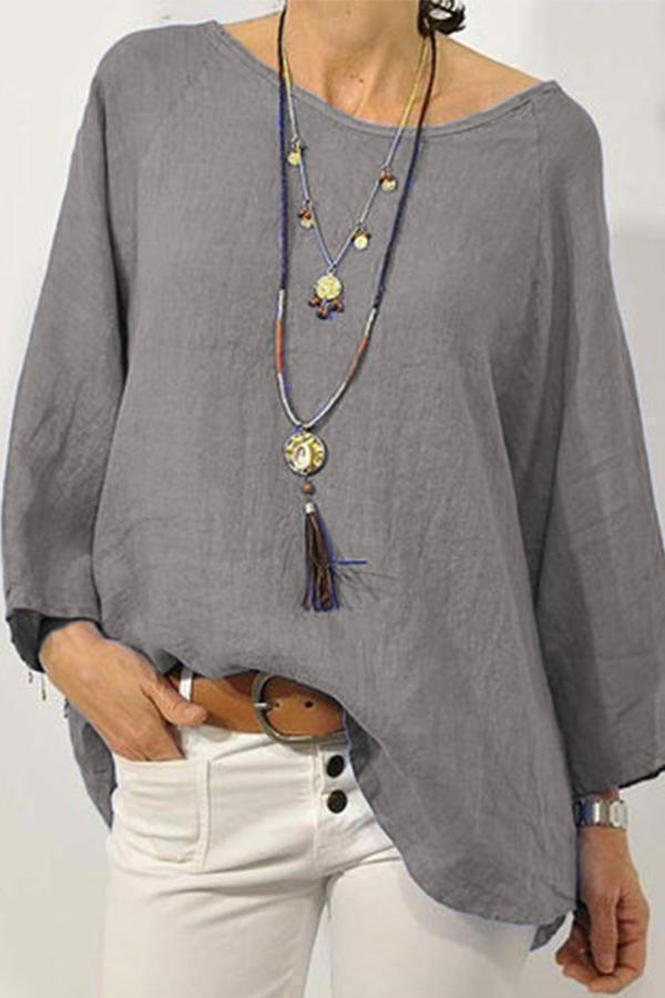 Linen Round Neck Long Sleeves Casual Blouses