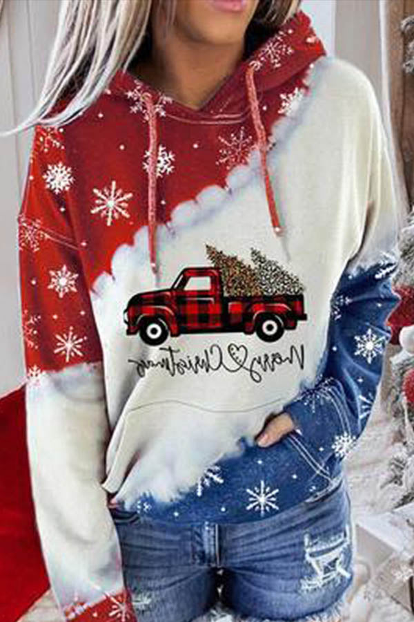Holiday Diagonal Color-block Truck With Christmas Tree Print Snowflake Hoodie