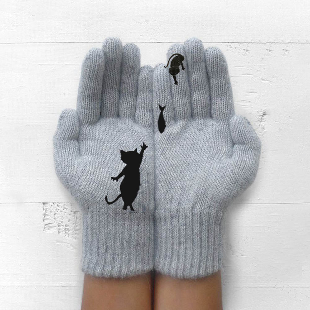 Women Lovely Black Cat Catching Fish Print Knitted Ribbed Gloves