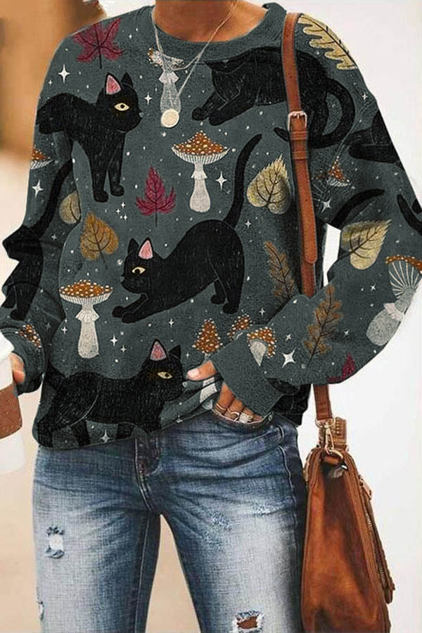 Cartoon Black Cat With Different Postures Maple Leaf Mushroom Print Casual T-shirt