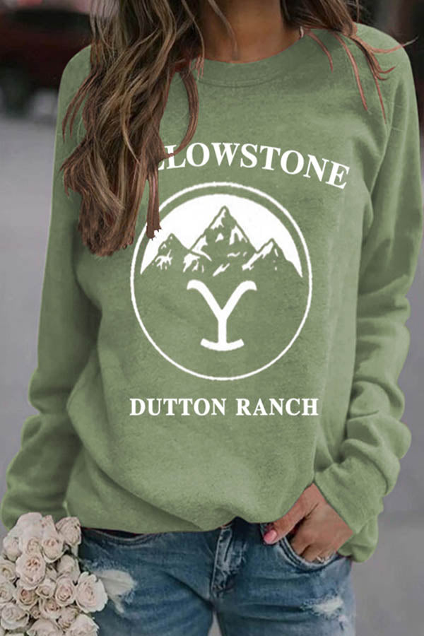 Yellowstone Dutton Ranch Letter Print Mountain Symbol Casual Sweatshirt
