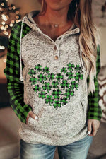 Sports Green Four Leaf Clover Red Heart Plaid Print Pocket Front Raglan Sleeves Hoodie
