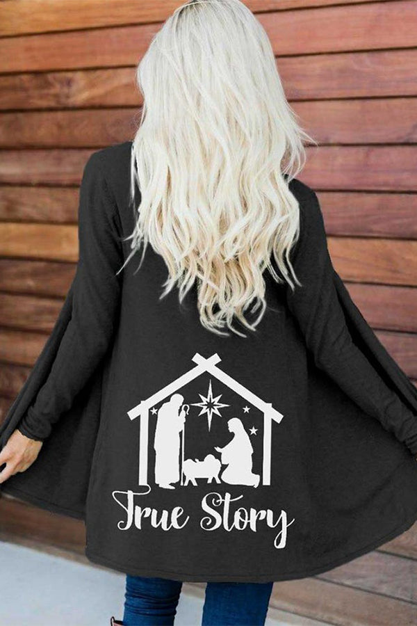 True Story Letter Parents And Child In House Print Casual Coat