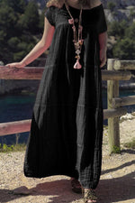 Vintage Casual Round Loose Maxi Dress