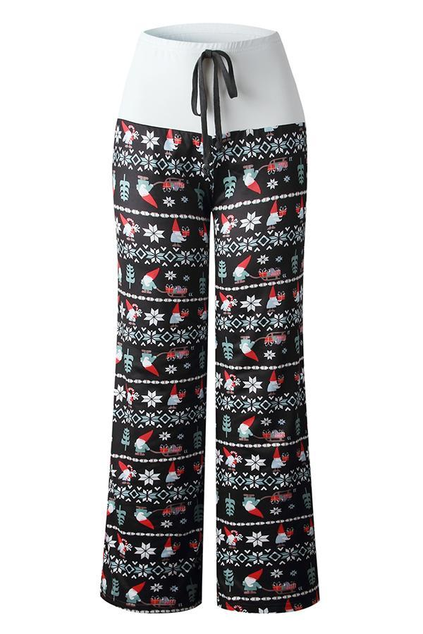 Christmas Printed High Waist Self-tie Casual Pant