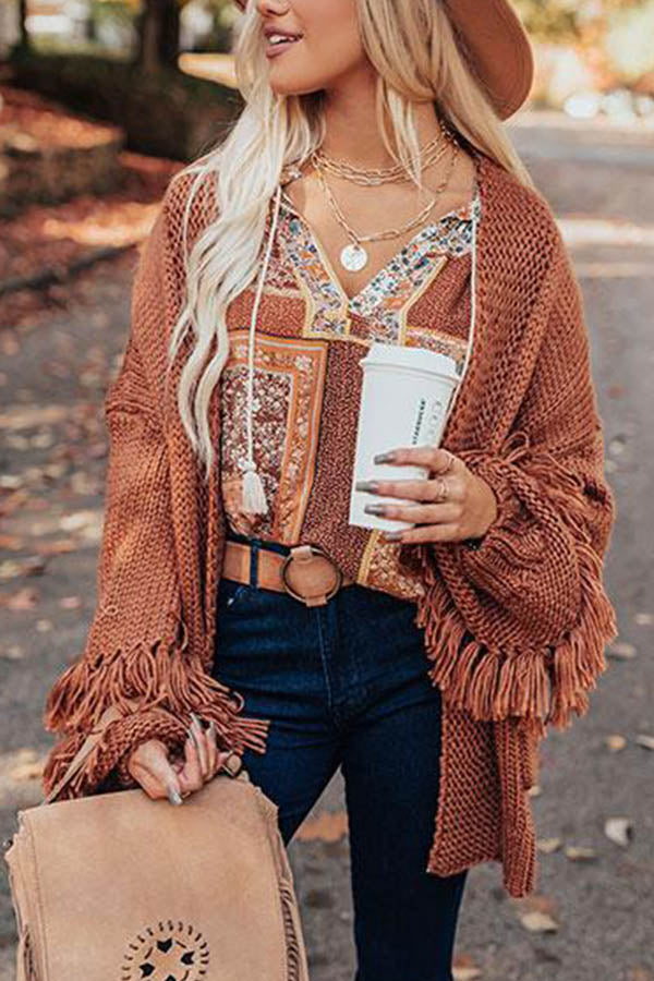Holiday Solid Knitted Ribbed Tassel Hollow Out Cardigan
