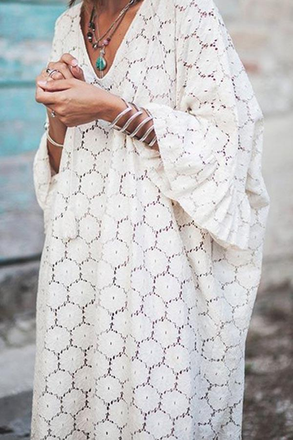 Lace Couout V Neck Flare Sleeve Loose Maxi Dress