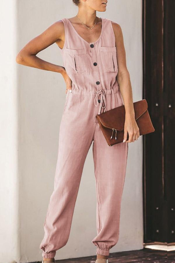 Basics Solid Pocket Button Down Tied Jumpsuit