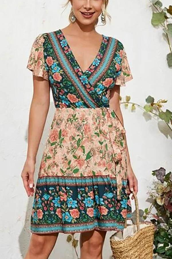 Color-block Floral Print Cross Front V-neck Holiday A-line Mini Dress