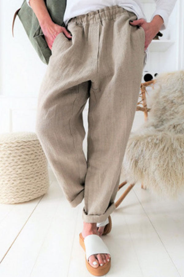 Simple Solid Pockets Elastic Waist Long Pants