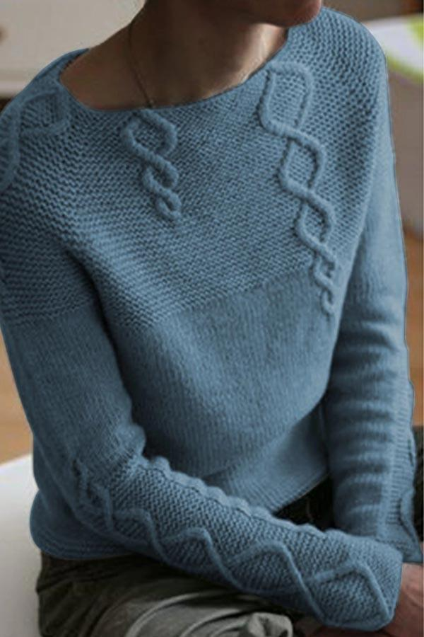 Paneled Solid Twist Casual Knitted Sweater