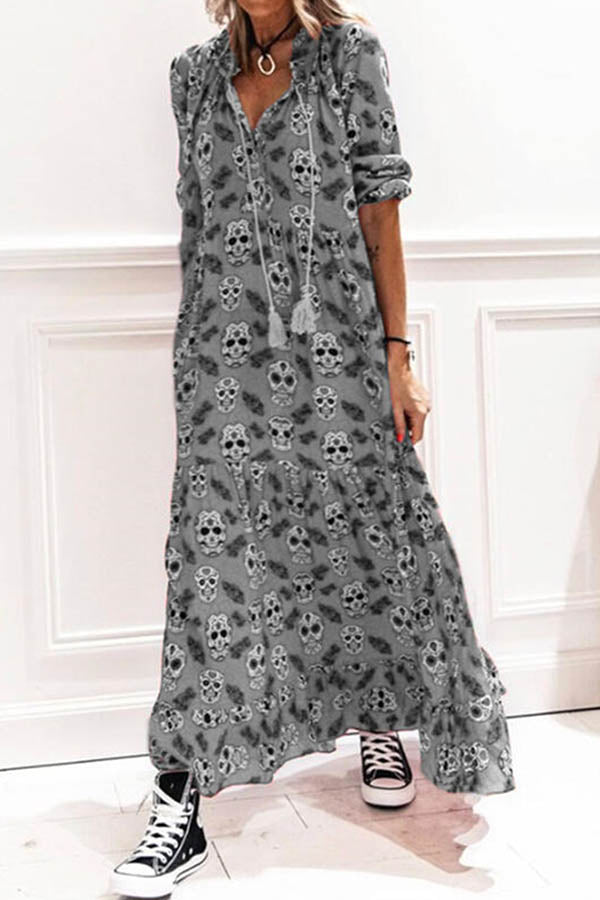 Bohemian Skull Print Pleated Frill Hem V Neck Maxi Dress