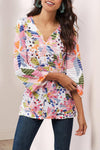 Casual Print V Neck Regular Blouse