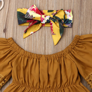 Off-the-Shoulders Blouse & Floral Shorts & Headband
