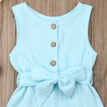 Load image into Gallery viewer, Toddler Girls Button Down Self-Tie Romper
