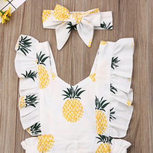 Toddler Girl Ruffle Pineapple Print Jumpsuit & Headband