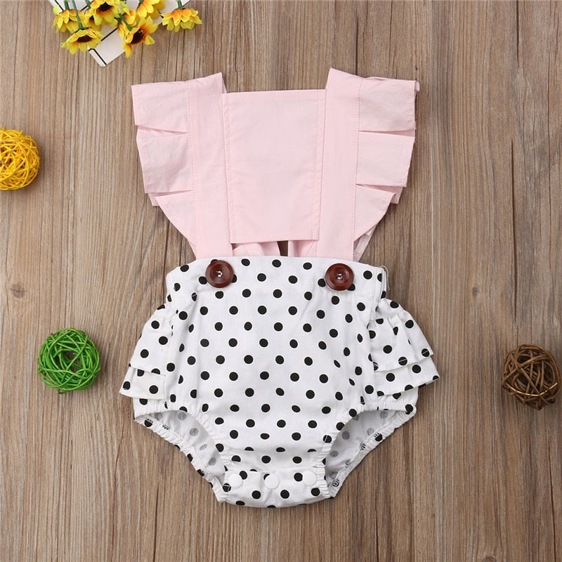 Baby Girl Backless Polka Dot Romper
