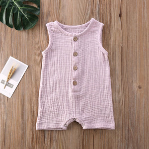 Baby Girl Button Down Jumpsuit