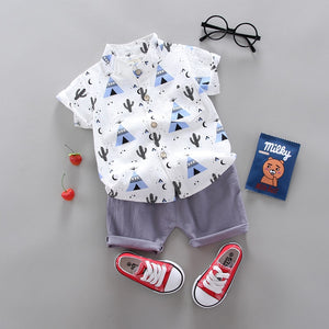 Toddler Boys Graphic Button Down Shirt with Shorts